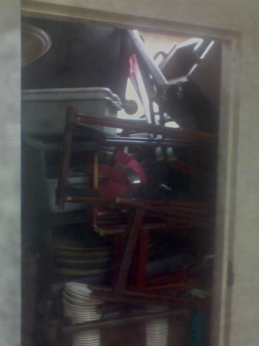 Yes, that is our closet at Der Fondue Chessel. I like to call it a game of bad Tetris, haha.