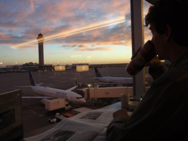A beautiful sunrise from the United Lounge, which I almost missed repeatedly trying to fall asleep sitting up.