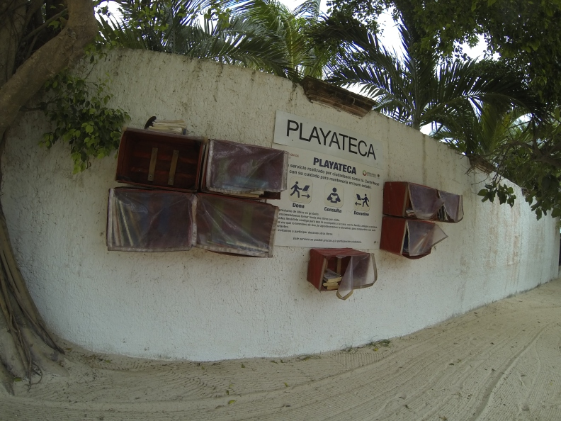 The 'playateca' (beach library) at Playa Las Perlas, one of the public beaches on the way to Cancun.
