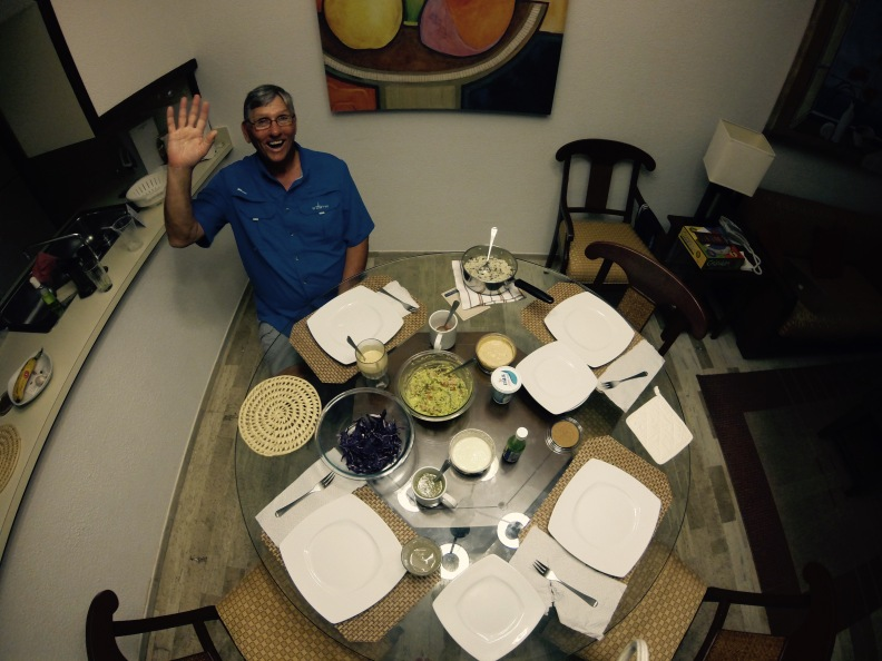 Fish tacos for dinner at the resort headquarters! Edwardo is excited.