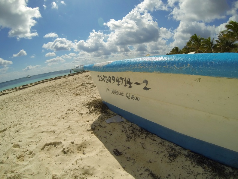 Arriving at the beach in Puerto Morelos, about 40 minutes south of Cancun.