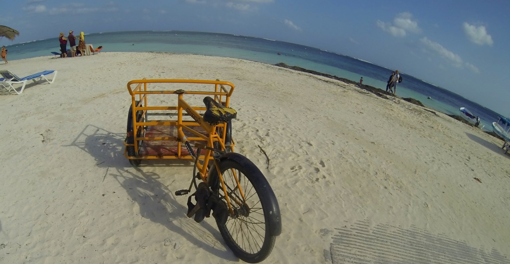 Three wheeled cargo bikes like this one are ubiquitous in the Yucatan and Quintana Roo.