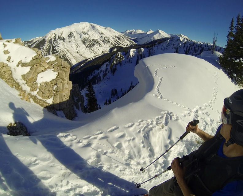 Looking down a steep pitch near a recent avalanche set off by a snowboarder (no one was hurt).