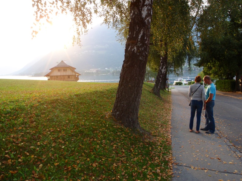 A pre-briefing pow wow at Lake Ossiach (with Cristina and Blaz).