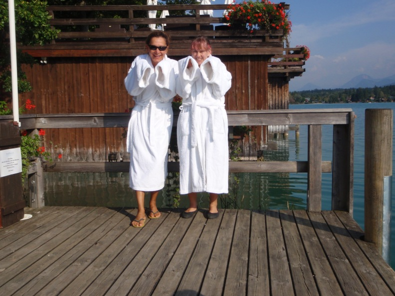 And there are also sweet robes for Cristina and I to take to the lake...