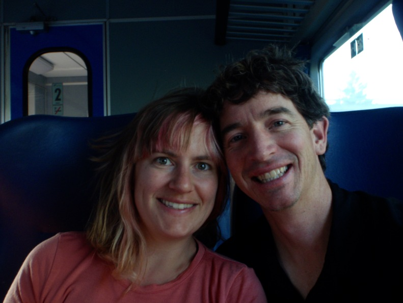 Kicking back on the smelly, hot Italian train :)