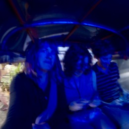Checking out the city in the blue lights of the TukTuk on the way back to the guesthouse.