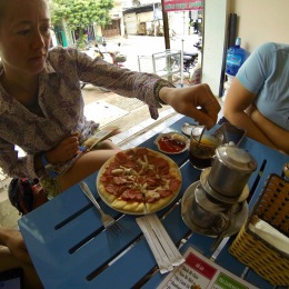 Pizza, Vietnamese style, which Anne ordered just to see what would happen. What happened was lots of chopped up hotdogs.