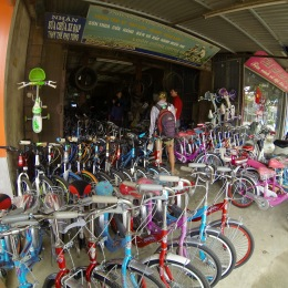 Shopping for brake pads and spare cables on bike and scooter shop row.