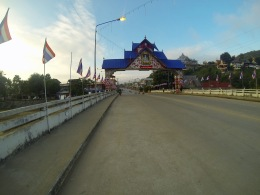 Heading across the bridge over the Nam Kok, our highway to Thaton the day before.