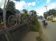 On quiet roads in Chiang Dao, searching for a guesthouse.