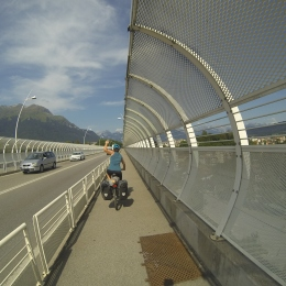 Victoriously and finally on our bikes and heading out of Belluno!