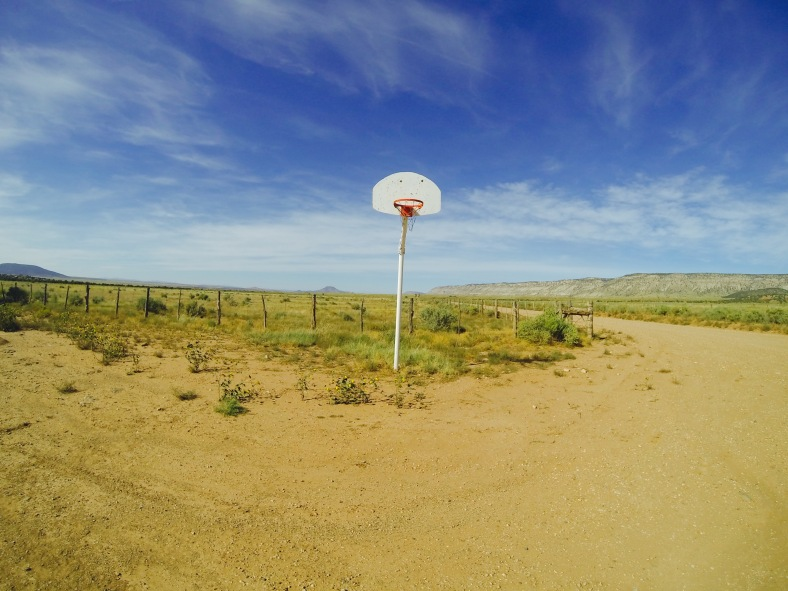 The basketball hoop for no one, right next to the Mt. Trumbull schoolhouse.