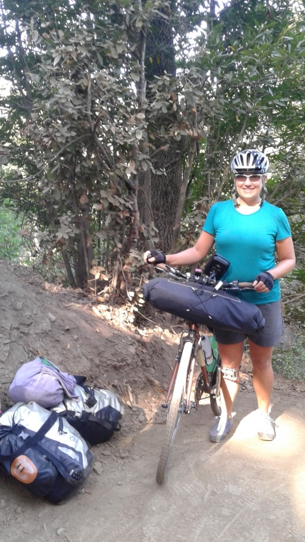 Schlepping bike and gear up the dirt trail the locals used just south of Pfeiffer Big Sur State Park, California.