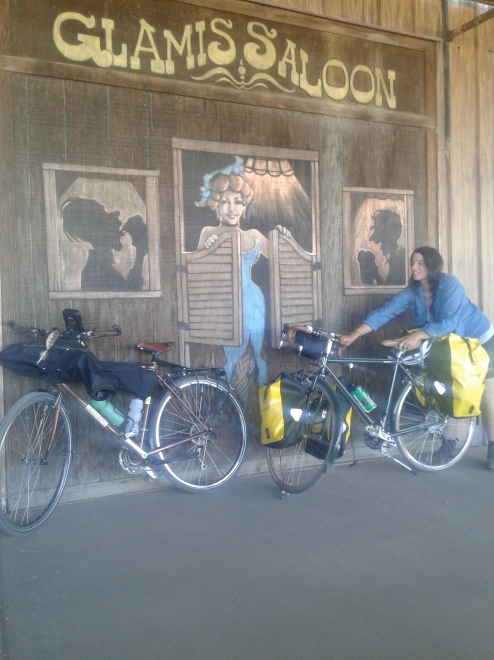 A glorious new friendship with Katherine and her bike, Jonie in Glamis, California.