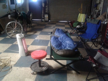 Heading to New Orleans, sleeping in a garage (another WS accomodation) in Lutcher, Louisana.