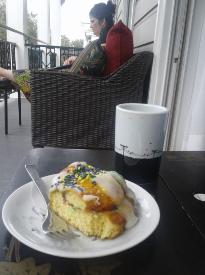 Arriving at where I was staying: Tami's! She's a friend of a friend but we were instant buddies. Here, we were eating King Cake for breakfast on her sweet balcony.