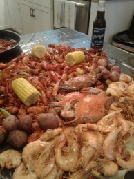 Then a seafood boil while it poured outside.