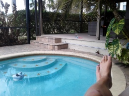 Relaxing by the pool at my friend Chris' house in Apopka, Florida.