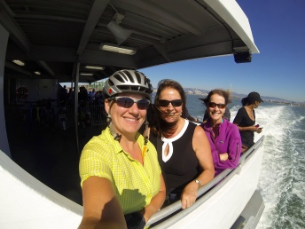 Meeting the sisters on the ferry from Oakland to San Francisco -- Colette, in the purple, offered to put me up in Pismo Beach later if the stars aligned.