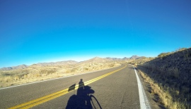 Riding up Mule Creek road after getting help from Fred, almost to...
