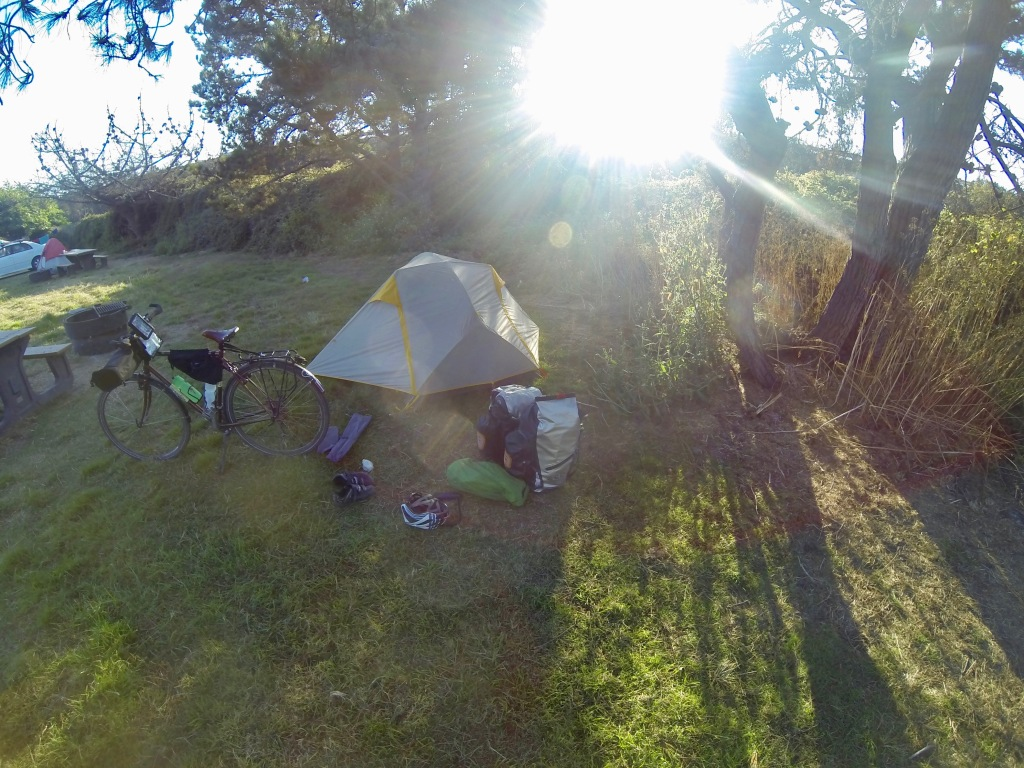 Sunny bicycle camping spot in California.